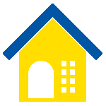 A stylized graphic of a house, yellow with a blue roof.