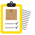 A stylized logo of a checklist on a yellow clipboard.