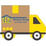A logo of a yellow moving truck with the TLC Moving and Storage branding visible.