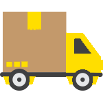 A logo of a yellow moving truck.